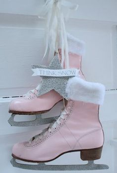 ice skates all dolled up ~ cute Winter door decoration..