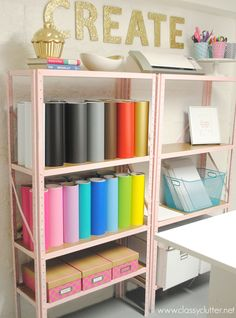 Spray paint boring steel shelving and make them bright and functional!