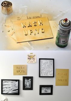 Use old alphabet letters to make a cool faux metal sign in the saying of your choice. This is such an easy craft.