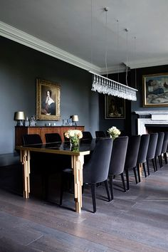 Somerset country house in Dining Room Design Ideas on HOUSE. Smart dining room with grey painted walls, table with abstract detailing and dark chairs.