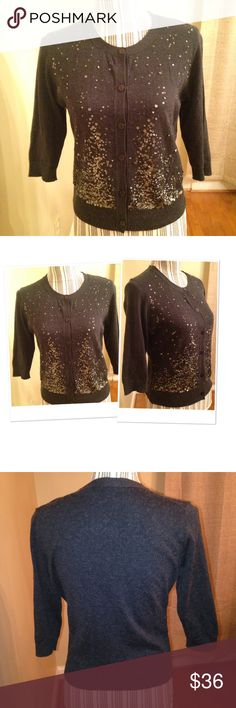Sequins cardigan charcoal xs Eileen fisher This cardigan is preloved Sz xs measures 18 inches from armpit to armpit laying flat organic wool and cashmere Eileen Fisher Sweaters Cardigans