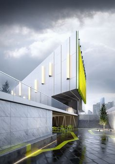 Contemporary architecture, public building featuring matching hard landscaped…
