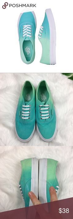 Vans Authentic Mint Ombre Sneakers Vans Authentic Mint Ombré Sneaker. Size 6.5. Good used condition. Only worn a few times, bottoms are in like new condition with almost no signs of dirt.  A few small spots here and there as pictured mainly from storage. Shoe laces still laced from factory. No box included. You can no longer get this color on vans website. Vans Shoes Sneakers