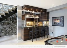 Contemporary basement bar designs