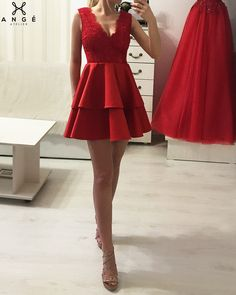 Rochii Banchet Scurte - Rochie Rosie Dantela si Tafta - AngeAtelier.ro Short Dresses, Prom Dresses, Formal Dresses, Dream Dress, My Style, Red, Photography, Outfits, Fashion