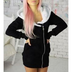 9e099b71f34 Casual Hooded Long Sleeve Zip Up Hoodie For Women