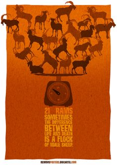 Removie Posters, movies with one letter removed: 21 Rams. Sometimes the difference between life and death is a flock of male sheep.