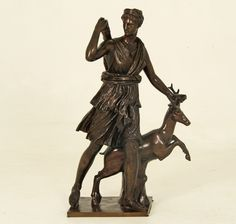 "FRENCH BRONZE SCULPTURE OF DIANA, THE HUNTRESS, INSCRIBED ON BASE F. BARBEDIENNE FONDEUR WITH FOUNDRY STAMP; AFTER THE 2ND CENTURY ROMAN VERSION IN THE LOUVRE MUSEUM IN PARIS ATTRIBUTED TO LEOCHARES;  31.5""H X 19""W X 9""D"