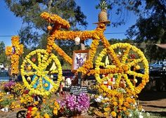 A bicycle in flowers during the Day of the Dead in Mexico