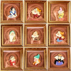 Hand painted Snow White and the Seven Dwarfs cels. These are available in the 9.26.15 online & live auction! #Sleepy #Sneezy #Dopey #Doc #Bashful #Grumpy #Happy #EvilQueen #Disneyana #POGAuctions