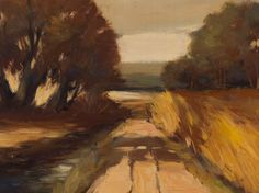 "Oil painting ""Cart track in autumn light"" by Hans Nowak, 1970s 