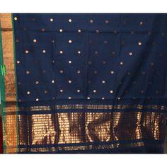 Navy Blue Pure Venkatagiri Cotton Saree Rs. 3,250