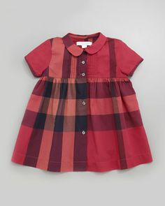 Peter-Pan-Collar Check Dress, Claret Pink, 12-24 Months by Burberry at Neiman Marcus.