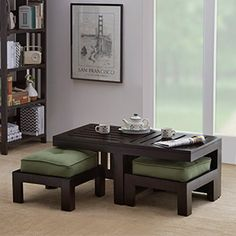 Kafano Coffee Table Set (Ebony Finish, Green)