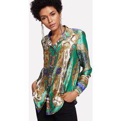 c27e5a67c53 Sheinside Multicolor Print Shirt Fold Over Back Tribal Blouse V-Neck Button  Up Top 2018 Women Office Elegant Long Sleeve Blouse