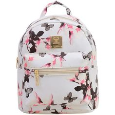 SheIn(sheinside) Allover Vintage Flower Print Backpack - White ($12) ❤ liked on Polyvore featuring bags, backpacks, white, flower print backpack, backpack bags, vintage knapsack, white rucksack and day pack backpack