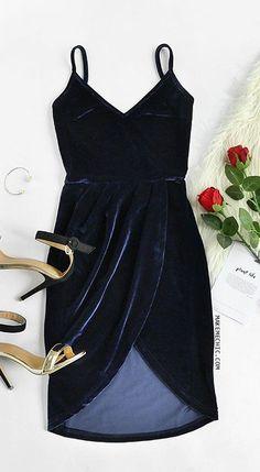 Navy Backless Ruched Velvet Wrap Cami Dress--ogden hack for holidays? Dress Outfits, Fashion Dresses, Cute Outfits, Dress Clothes, Casual Clothes, Dress Casual, Pretty Dresses, Beautiful Dresses, Dress Skirt
