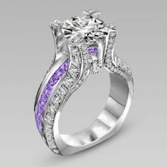 Vintage Two-in-one Big Round Cut Diamond Engagement Ring Bridal Set With Amethyst