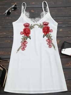 Lace Insert Floral Embroidered Slip Dress - White M