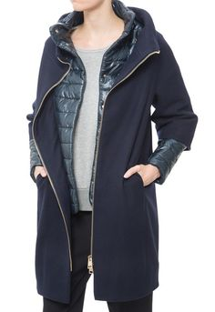 Herno Removable-Sleeve Wool Coat in Blue (Navy) | Lyst