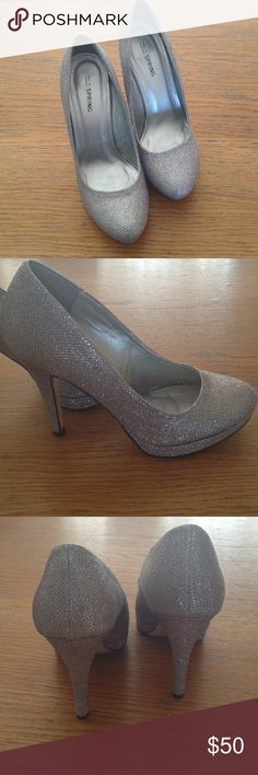 """Call It Spring Silver Sparkle Heels 4 1/4"""" heels.  Great condition. Call It Spring Shoes Heels"""