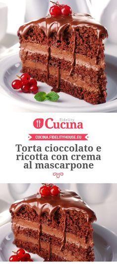 Torta cioccolato e ricotta con crema al mascarpone: PER LA BASE •70 g di maizena •80 g di fecola di patate •4 uova •120 g di burro •200 g di zucchero •270 g di ricotta •150 g di cioccolato fondente •1 bustina di lievito vanigliato •q.b di aroma vaniglia PER LA CREMA MASCARPONE •300 g di mascarpone senza glutine •q.b di crema di nocciole PER LA COPERTURA •q.b di cioccolato fondente