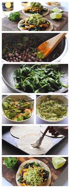 Easy Spinach Black Bean And Guacamole Tostadas