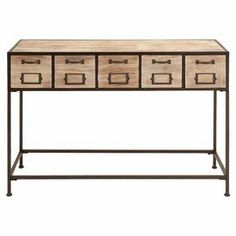I love the library card catalogue vibe of this console table.