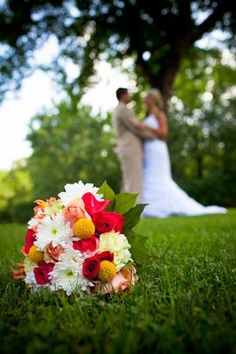 Cute wedding picture with bridal bouquet--