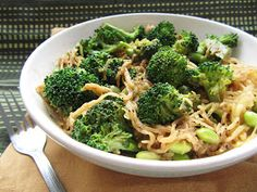 Once Upon a Cutting Board: Sesame Soy Spaghetti Squash with Broccoli and Edamame