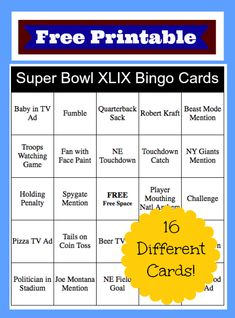 (Super Bowl XLIX Bingo Cards: Free Printables} Super Bowl Madness: Food & Fun for the Perfect Party - Joy Comes in the Morning Super Bowl Time, Super Bowl Sunday, Superbowl Squares, Football Squares, Slow Cooker Bbq Beef, Bingo Cards, Perfect Party, Free Printables, Printable Cards