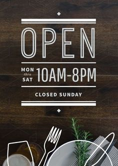 Opening Hours Sign Template with outline graphic elements Now Open Sign, Open Close Sign, We Are Open Sign, Open For Business Sign, Business Hours Sign, Business Signs, Closed Signs, Open Signs, Opening Hours Sign