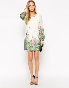 Image 4 of Yumi Shift Dress in Border Floral Print