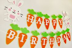 Happy Birthday banner by Pinwheel Lane on etsy #easter #bunny #carrot #party