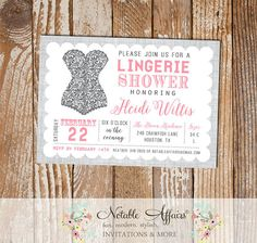 Gray and Pink Lingerie Shower invitation on gray linen - lingerie party invitation - pink color can be changed by NotableAffairs