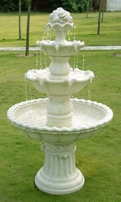 4 Tier White Outdoor Garden Water Fountain With Fruit Top 52 Inches Tall  Http:/