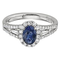 DeScenza Diamonds | SAPPHIRE AND DIAMOND RING with diamond halo and split shank in 18kt white gold