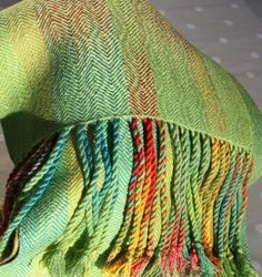 'Lime Green Parrot design' - hand woven, hand dyed silk scarf