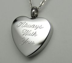 ALWAYS WITH YOU CREMATION URN NECKLACE HEART CREMATION JEWELRY MEMORIAL KEEPSAKE in Everything Else, Funeral & Cemetery, Cremation Urns | eBay