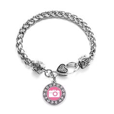 Pink Camera Circle Charm Braided Bracelet