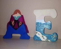 Disneys Frozen Wood letters. Anna and Elsa.