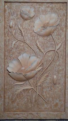 Plaster Crafts, Plaster Art, Fabric Plasters, Glue Art, Sunflower Pattern, Wood Flowers, Mural Art, Bottle Art, Clay Projects