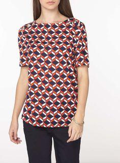 Womens **Tall Geometric Print T-Shirt- Red