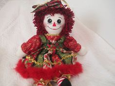 Handmade 20'' Christmas Raggedy Ann doll made by by JodisDolls