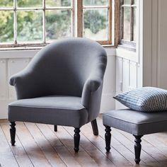 Clandon Linen Armchair, Grey Linen