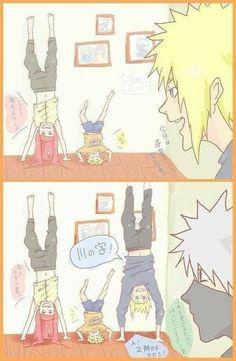 Like mum, like son Come on kakashi. Bet you cant stay there longer than we can Naruto Minato, Anime Naruto, Naruto Comic, Naruto Cute, Naruto Shippuden Sasuke, Otaku Anime, Anime Manga, Sasunaru, Naruhina