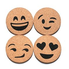 Corkologist Emoji Cork Round Beverage Bar Coasters, Novelty Drink Coaster, Set of 4 (Style Wood Burning Patterns, Wood Burning Art, Diy Arts And Crafts, Wood Crafts, Gravure Laser, Bar Coasters, Pyrography Patterns, Coaster Furniture, Bar Drinks