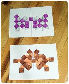 Symmetry, perimeter, AND area! Just did this but had the kids make up their own shapes on grid paper