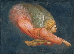 These fresco fragments of flying angels are important testimony to the profound influence of Giotto's frescoes in the Arena Chapel at Padua on painting throughout northern Italy in the early fourteenth century