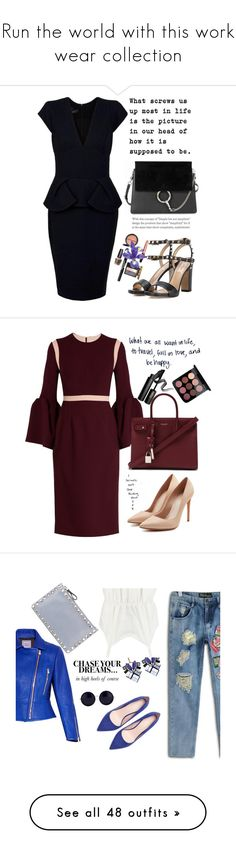 """""""Run the world with this work wear collection"""" by afef-ktari ❤ liked on Polyvore featuring Elie Saab, Valentino, Chloé, Roksanda, Yves Saint Laurent, INIKA, Alexander McQueen, Zara, Nak Armstrong and Hervé Léger"""